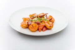 Shrimps with vegetables  Stock Photos