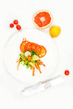 Shrimps with vegetables and cheese Royalty Free Stock Photography