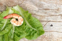 Shrimps with vegetables green leaves on wood background. Royalty Free Stock Images