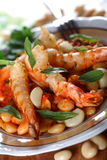 Shrimps on white bean royalty free stock images