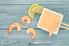 Shrimps With Dip Royalty Free Stock Images