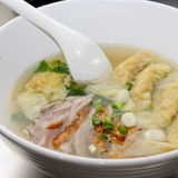 Shrimps Wonton Soup with slice roast duck royalty free stock photography