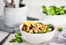 Shrimps and zucchini warm salad - delicious healthy food Royalty Free Stock Photos