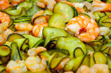 Shrimps and zucchini sauce Stock Photography