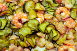Shrimps and zucchini Stock Photography