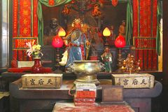 Shrine and altar of a Buddhist temple, Hong Kong, China Stock Photos