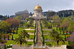 Shrine of the Bab and lower terraces at the Bahai World Center i Royalty Free Stock Photography