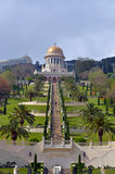 Shrine of the Bab and lower terraces at the Bahai World Center i Royalty Free Stock Photos
