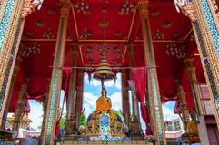 Shrine in buddhist temple at Damnoen Saduak Floating Market, Thailand Stock Image