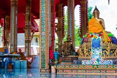 Shrine in buddhist temple at Damnoen Saduak Floating Market, Thailand Royalty Free Stock Image