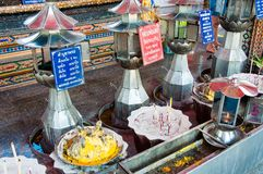 Shrine in buddhist temple at Damnoen Saduak Floating Market, Thailand Stock Photos