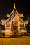 Shrine, Chiang Mai at Night. Night time view of an ornate shrine at the historic Wat Chedi Luan in Chiang Mai, Thailand Stock Photos