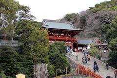 The shrine complex of Tsurugaoka Hachimangu of Kamakura. Taken in Kanagawa, Japan - February 2018 royalty free stock image