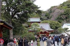 The shrine complex of Tsurugaoka Hachimangu of Kamakura. Taken in Kanagawa, Japan - February 2018 stock photos