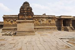 A shrine in thr front, a south wall of the main sanctum in the back and an entrance to the ardh-mandapa on the right, Krishna Temp. A shrine in front, a south stock image