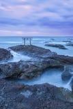 Shrine Gate at daybreak. Ibaragi, Japan stock image