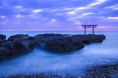 Shrine Gate at daybreak. Ibaragi, Japan royalty free stock photography