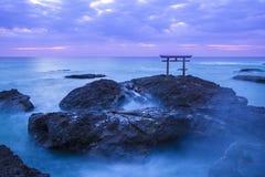 Shrine Gate at daybreak. Ibaragi, Japan stock photos