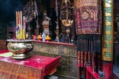 Shrine il cinese A-ma Temple dell'interno del dettaglio nella porcellana di Macao Fotografie Stock