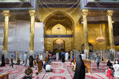 The shrine of Imam Abbas. Karbala, Iraq – May 30 2014: It is the shrine of great taste gilded dome and minarets, One of Shiite imams who is the brother of Imam Royalty Free Stock Photography