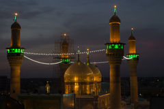 The shrine of Imam Moussa al Kadhim   And his grandson Mohammed al Jawad. Kadhimiya, Baghdad, Iraq  - May 19 2014: The shrine of Imam Moussa alKadhim and his Stock Images