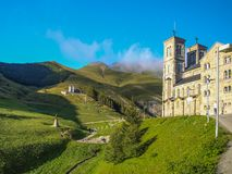 Shrine of La Salette in the French Alps. And the Pilgrim House royalty free stock photography
