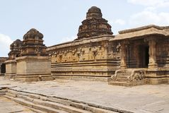 A shrine in the left, the main sanctum in the centre and an entrance to the ardh-mandapa on the right, Krishna Temple, Hampi, Karn. Ataka, India. Decorated stock photo