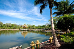 Shrine in the middle of a lake in a garden in Myan Stock Photos