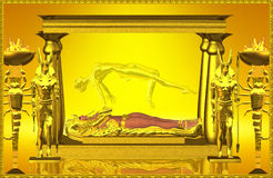 Shrine Of The Mummy. Entombed beneath the sands of enternity lays the golden shrine of an Egyptian queen long dead, but will rise again before the passing of Royalty Free Stock Image