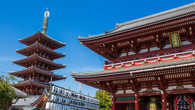 Shrine and Pagoda at Senso-Ji Temple in Tokyo, Japan Stock Photography