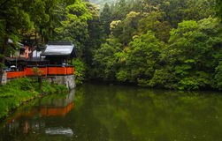 Shrine and pond scene in Kyoto Stock Photo