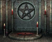 Shrine with red candles. Fantasy shrine with red candles Stock Photos