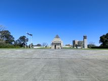 Shrine of Rememberance in Melbourne with a blue sky, Australia royalty free stock image