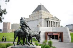 Shrine of Remembrance. The wounded rider sitting on the donkey in front of the Shrine of Remembrance Monument in Melbourne Royalty Free Stock Image