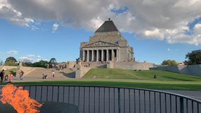 Shrine of remembrance in Melbourne dolly shot showing the flame