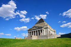Shrine of Remembrance, Melbourne. The Shrine of Remembrance, located in Kings Domain on St Kilda Road, Melbourne, Australia was built as a memorial to the men Royalty Free Stock Photos