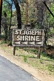 The Shrine of Saint Joseph of the Mountains, Yarnell, Arizona, United States. Sign at The Shrine of Saint Joseph of the Mountains located in Yarnell, Arizona stock photography