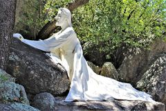 The Shrine of Saint Joseph of the Mountains, Yarnell, Arizona, United States. Statue at The Shrine of Saint Joseph of the Mountains located in Yarnell, Arizona stock photo