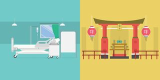 Shrine and Sickroom Background. Conceptual background design vector | Use for religion, event, concept and much more. The set can be used for several purposes vector illustration