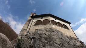 The shrine of St. Patrick San Patrizio, Colzate village, Bergamo, Italy. A perched medieval site. On top of a hill stock video