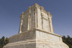 The shrine and the statue of poet Firdausi. Picture of mausoleum of poet Firdausi in the Iranian city of Mashhad, and the shrine was built on the Roman style Royalty Free Stock Photography
