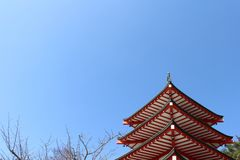 The shrine and temple around Chureito Pagoda. When religion meets nature. Taken in Yamanashi, Japan - February 2018 Stock Photography