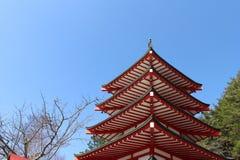 The shrine and temple around Chureito Pagoda. When religion meets nature. Taken in Yamanashi, Japan - February 2018 Royalty Free Stock Photo