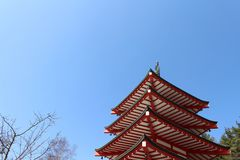 The shrine and temple around Chureito Pagoda. When religion meets nature. Taken in Yamanashi, Japan - February 2018 Stock Image