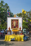 Shrine to the king of thailand in bangkok Royalty Free Stock Photography