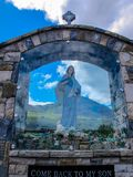 Shrine to the Queen of Peace at Croagh Patrick, Mayo, Ireland stock photo