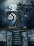 Shrine with a tree. Fantasy shrine with a tree with lanterns at night Royalty Free Stock Images