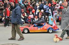 Shriners at the parade. Shriners participate at the Montreal Santa Claus Parade Royalty Free Stock Photography