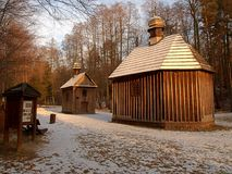 Shrines in Lagiewniki. Holy Shrines. And St. Roch. Anthony in winter forest scenery in Lagiewniki Royalty Free Stock Images