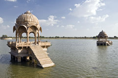 Shrines in a lake, India Stock Image